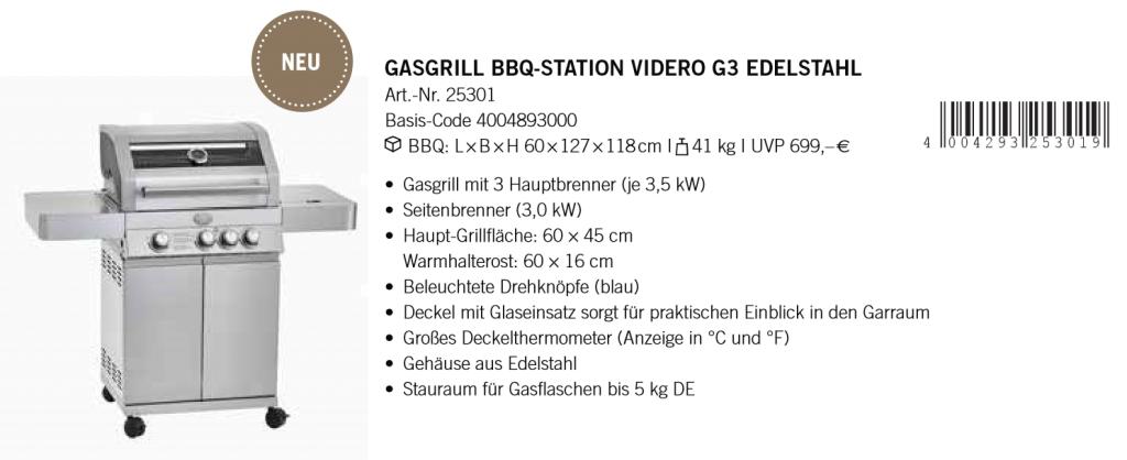 Gasgrill Station Videro G3 Edelstahl