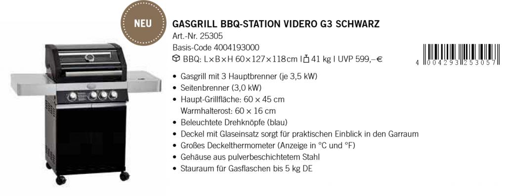 Gasgrill Station Videro G3 Schwarz