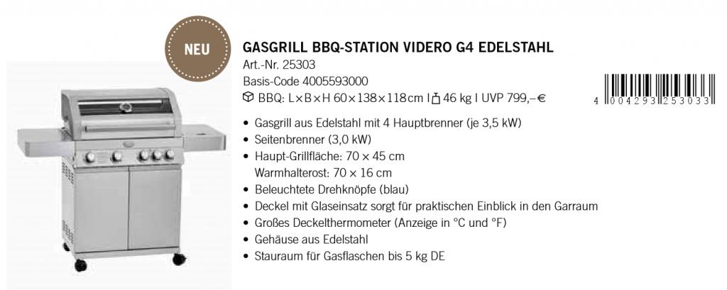 Gasgrill Station Videro G4 Edelstahl