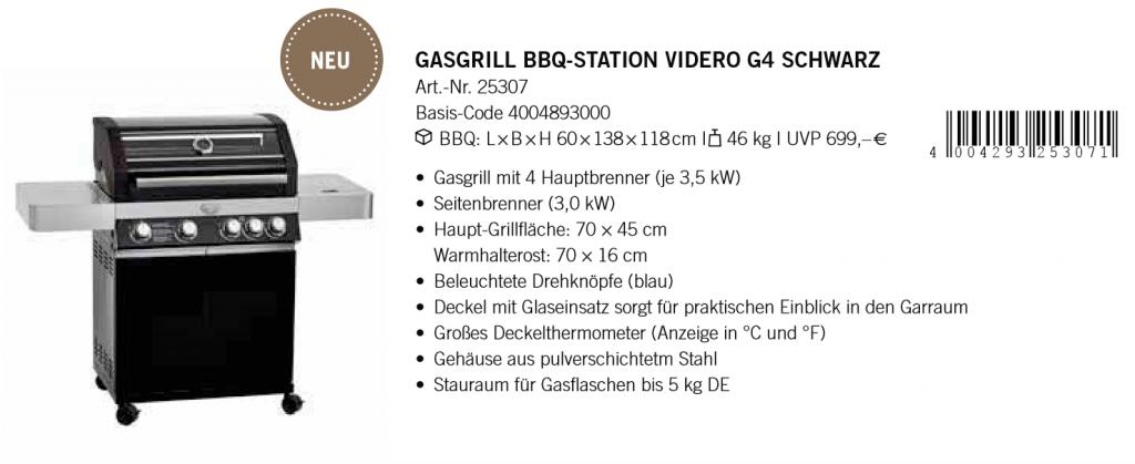 Gasgrill Station Videro G4 Schwarz